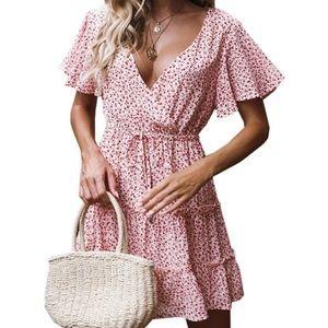 Deep v-neck floral summer dress NWOT S